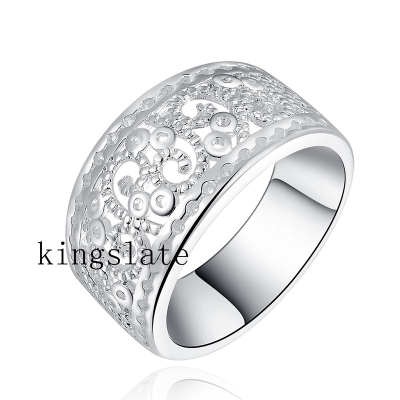 LR054 Christmas gift  wholesale Retro silver for women wedding ring best quality fashion Charm classic 925 Jewelry