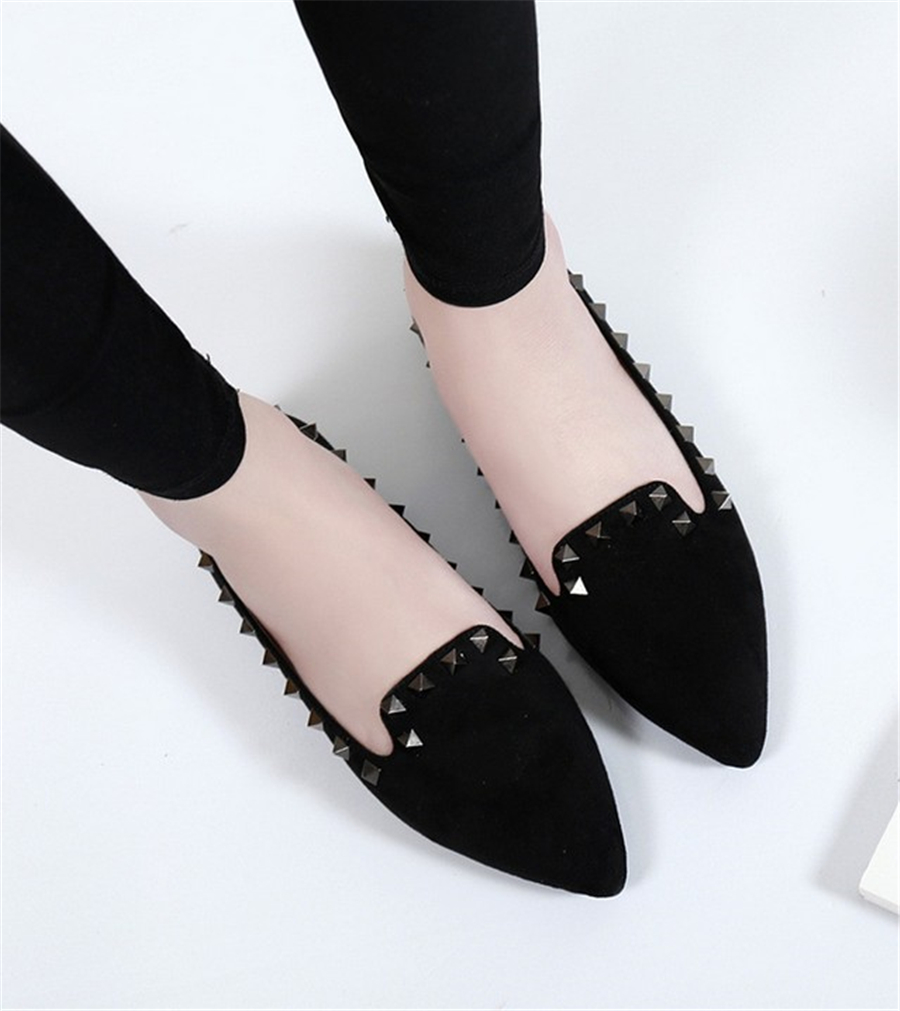 European and American big yards Spring rivet flat shoes pointed shallow mouth suede SUB867