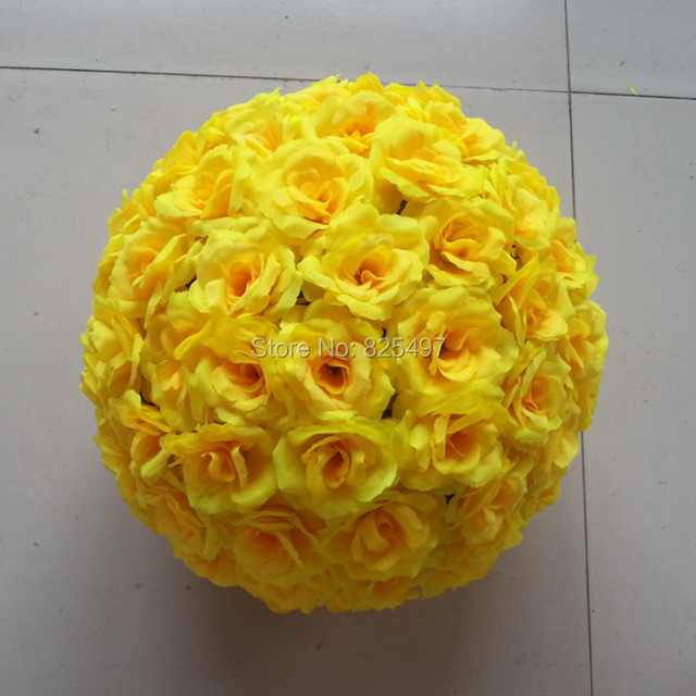 Wedding decoration event and parties decoration yellow flower 15cm wedding decoration event and parties decoration yellow flower 15cm artificial flower rose balls bouquet hanging decoration mightylinksfo