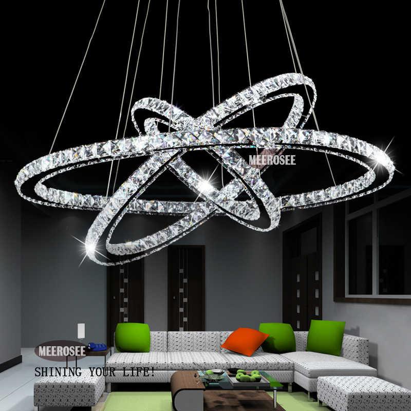 Pengiriman Cepat 3 Cincin Modern Chrome Lampu LED Hall Lampu Gantung Kristal Tergantung Lampu Dapur LED Lustres MD8825