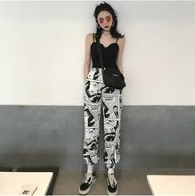 купить Harajuku Cartoon Print Women Harem Pants Elastic Wasit Ankle Length Trousers Spring Autumn Causal Loose Pants дешево