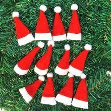 10 шт./партия, Рождественская шляпа, сумка для посуды, конфетные подарочные сумки, милые карманные вилки, ножи, конфетница, настольные украшения для ужина, посуда