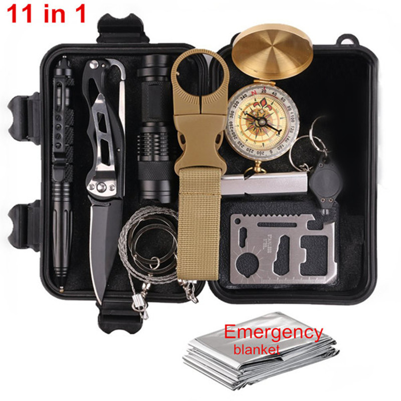 11 in 1 outdoor edc camp equipment travel kit multi tool SOS Flashlight survive first aid kit survival box self-help tool box(China)