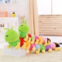 Giant Colorful 80cm Caterpillar Plush Toy Stuffed Worm Doll Kids Toy Animal Long Sleeping Pillow Green