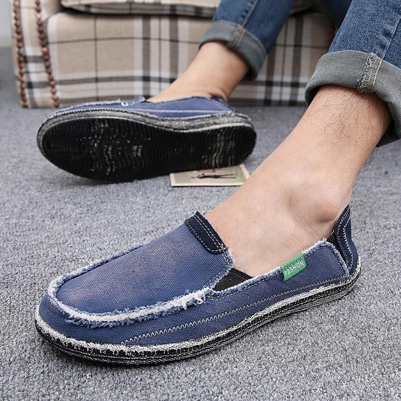Toile Slip bleu Haute Chaussures Respirant Taille Noir Appartements Hommes Casual Jeans Grande ardoisé Mocassins Nouveau Qualité kaki Mode 46 Sur 8w0Tpfq