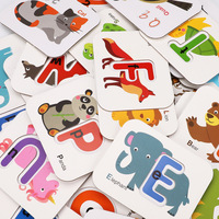 Baby Card Montessori Baby Learning Kid Toys English Alphabet Letter Word Flash Card Puzzle Match Jigsaw Children Educatioanl Toy