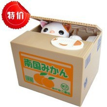 DHL free shipping New Itazura Cat Steal Money Coin Saving Box Piggy Bank Kids Gift Funny Toy