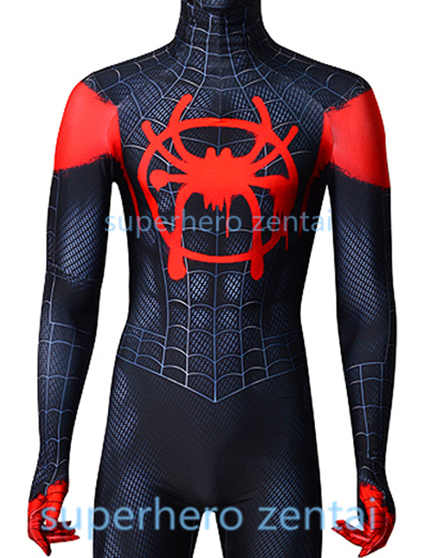 Black Red Spiderman Costume 3D Print NEW Anime Miles Morales Spider-man Cosplay Zentai Bodysuit Adult/Kids/Custom Free Shipping