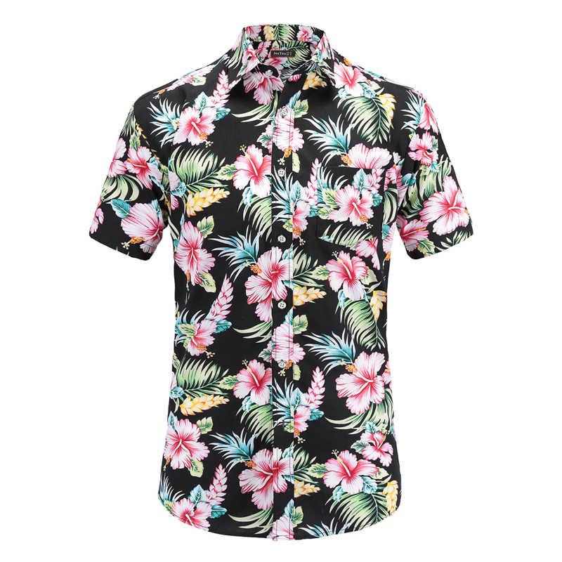 2019 модная мужская хлопковая рубашка с коротким рукавом Гавайская Летняя Повседневная рубашка с цветочным принтом мужские большие размеры, S-3XL топы для отдыха