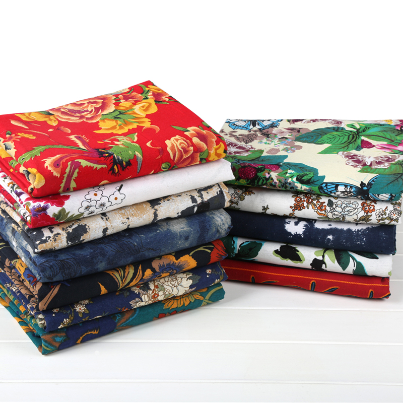 Tissu en lin de coton tissu rétro famille fleur tissu cheongsam nappe en lin tissu national vent