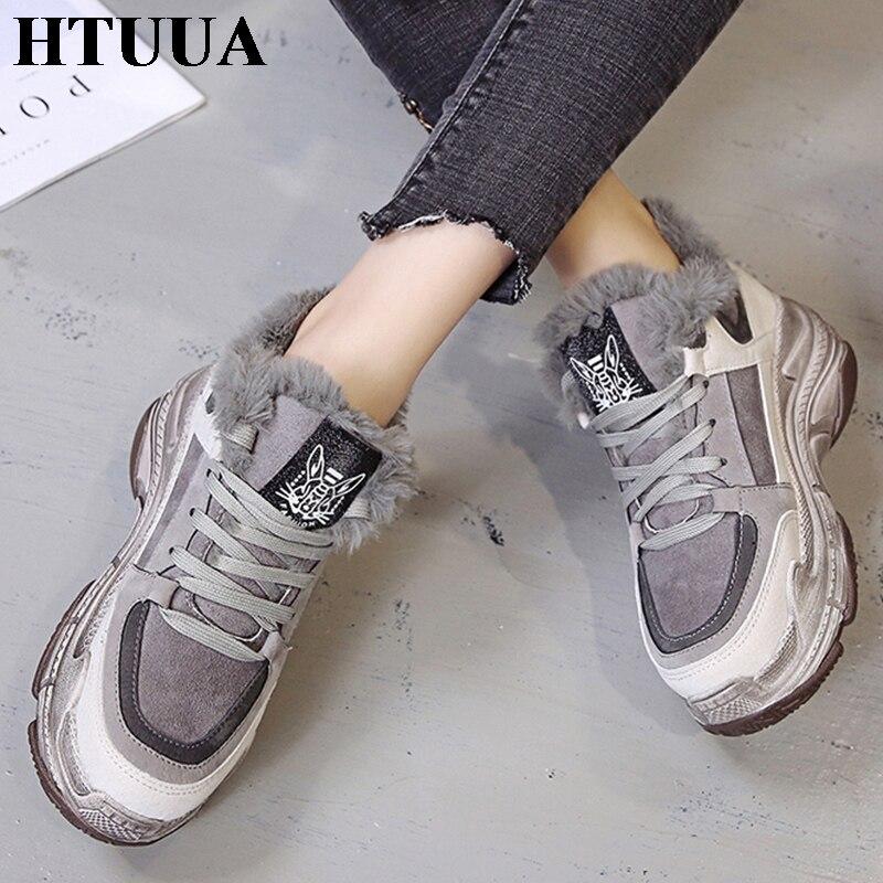 Moda Mujer Casuales La Felpa Deporte Zapatillas Sx1888 Invierno Gris Zapatos Encaje Cestas Las Mujeres De Plataforma Htuua plano 7UnFvWF
