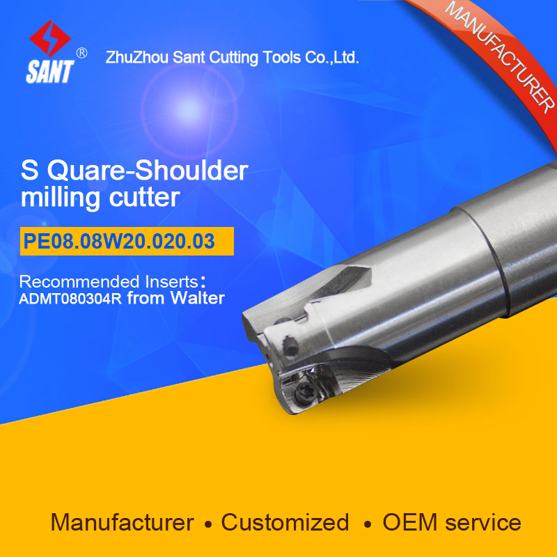 Zhuzhou Sant Tools Indexable Milling cutter PE08.08W20.020.03  with ADMT080304R carbide insert selling well at home and abroad yw1 4160511 zhuzhou zccct cemented carbide 30pcs box milling machine clip blade square face milling cutter for stainless steel