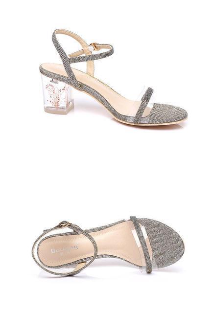 Taille 31-39 sandales à talons bruts cristal talon ceinture mode Transparent talon haut sandales dété femmes