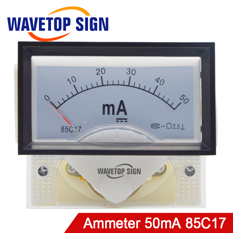 DC 50mA Ammeter Meter 85C17 DC 0-50mA Analog Amp Panel Meter Current For CO2 Laser Engraving Cutting Machine For CO2 Laser Tube