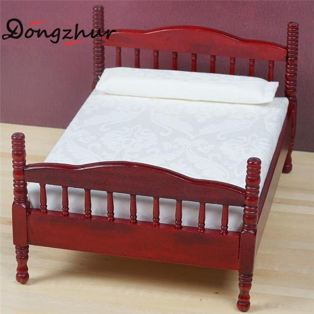 Dongzhur New Mini Bed Toy Doll House Bedroom Furniture Mahogany Double Bed  Wooden Toy House Dollhouse