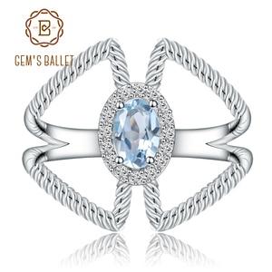 Image 1 - 宝石のバレエ 0.6Ct オーバル天然スカイブルートパーズ宝石女性のための指輪 925 スターリングシルバーファッションファインブレスレットジュエリー