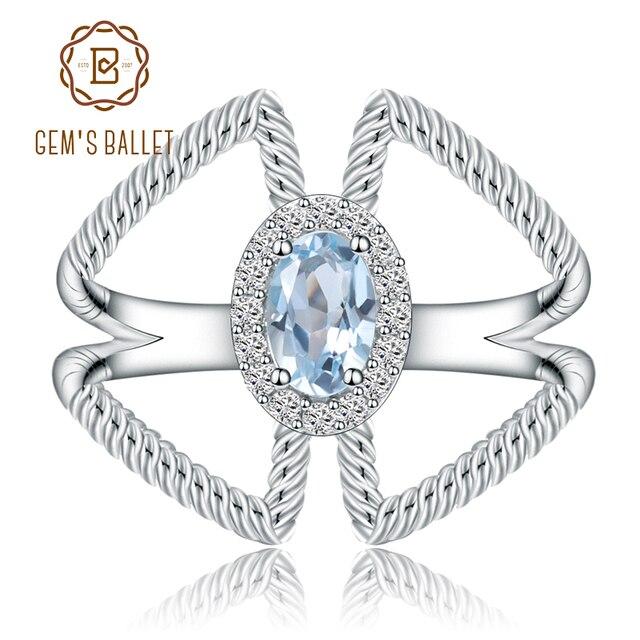 宝石のバレエ 0.6Ct オーバル天然スカイブルートパーズ宝石女性のための指輪 925 スターリングシルバーファッションファインブレスレットジュエリー