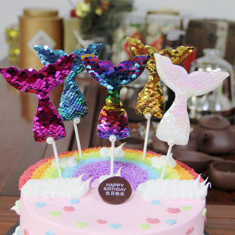 50sets Mermaid Tail Sequins Cake Topper Kids Favors Wedding Cupcake Toppers Decoration Baby Shower Party Sereia Festa Patisserie