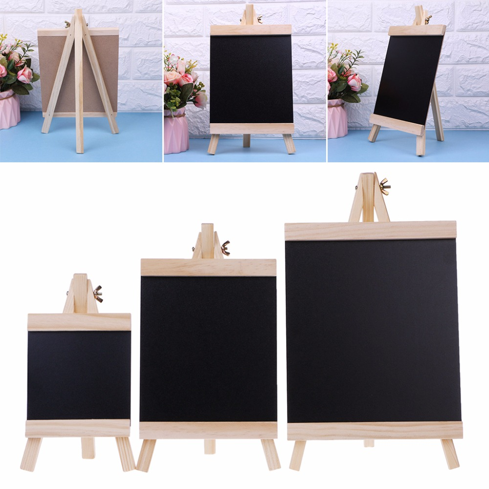 Desktop Message Blackboard  Easel Chalkboard Kids Wood Writing Boards Collapsible Writing Boards S/M/L Size C26