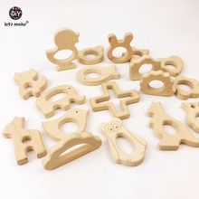 Let's Make 10pc/lot Organic Baby Wooden Teether Natural Teething Grasping Toy Baby Shower Gift Toddler Teether Newborn(China)