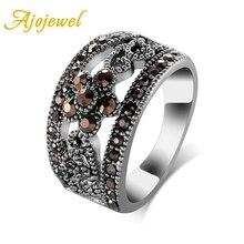 Ajojewel #6-10 joyería de moda más vendida negro CZ flor Vintage Retro anillo Mujer