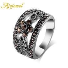 Ajojewel #6-10 mejor venta joyería de moda negro CZ flor Vintage Retro anillo mujeres