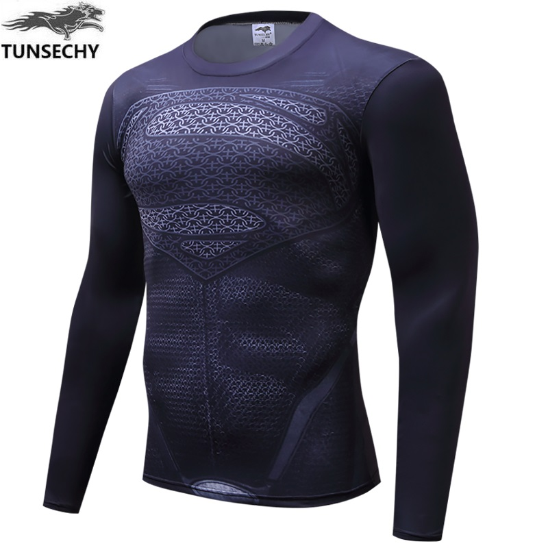 TUNSECHY brand Newest long sleeve compression   shirt   men's marvel captain america/Ironman/Sipder Man/superman Tights   t     shirt