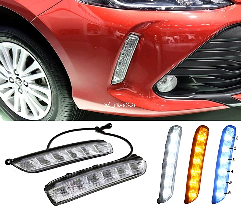 Turn signal and dimming style Relay Gloss 12V LED Car DRL daytime running lights with fog lamp hole  For Toyota Vios 2017