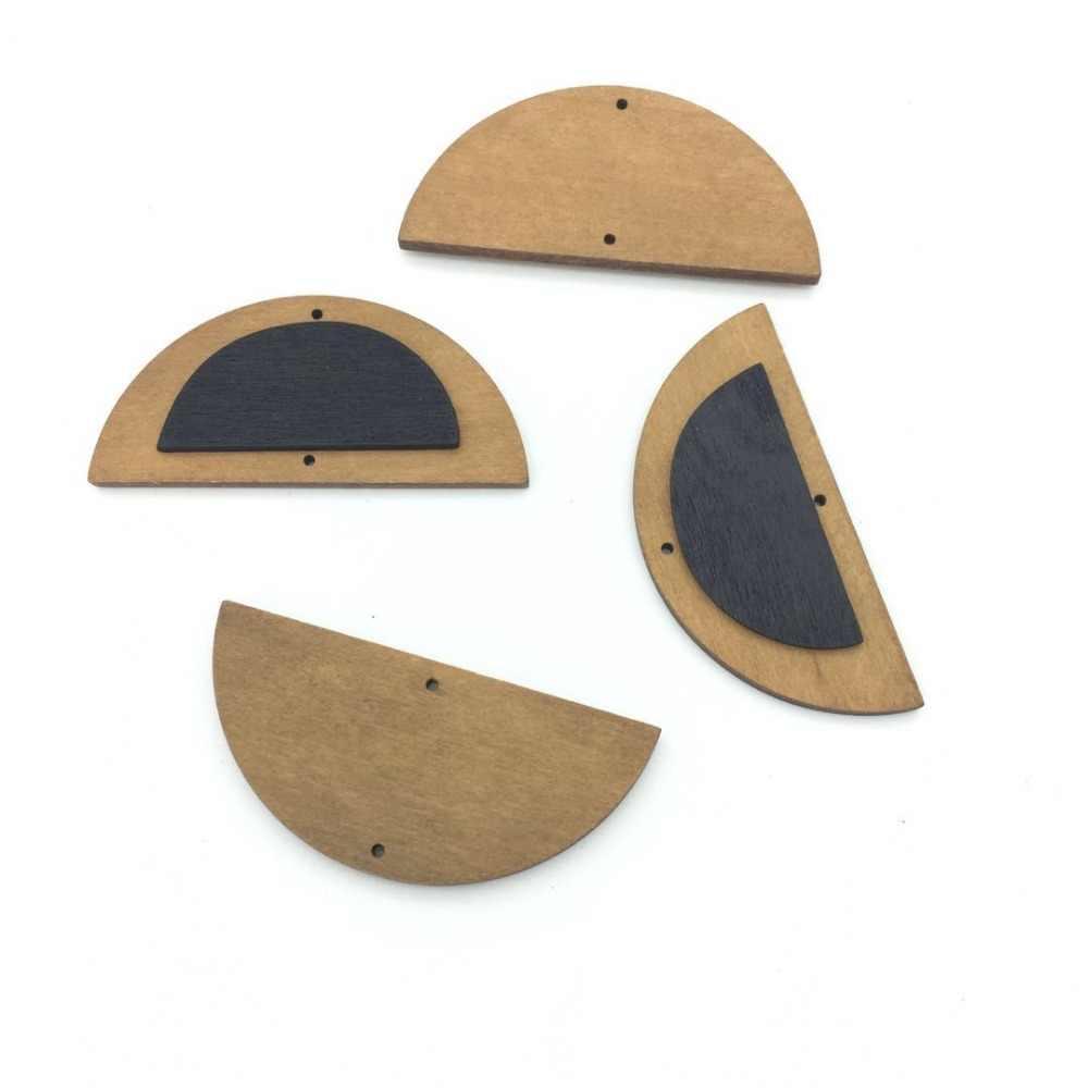 Bricolage demi-cercle bois bijoux accessoires en gros bijoux fabrication à la main bijoux bisutérus para hacer joyas cabochon