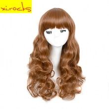 Wom xi のための完全な頭部の髪かつらパーティーかつら 。岩ブラウン合成女性ロングウィッグ波状毎日ナチュラル耐熱繊維
