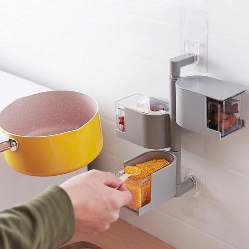 2/3/4-poziom 360 stopni obrotowy uchwyt ścienny stojak na przyprawy kuchnia przyprawy pudełko do przechowywania Rack przyprawy stojak garnki pojemnik narzędzia kuchenne