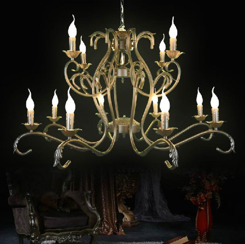 Free Shipping!Luxury Rustic Wrought Iron Chandelier 12pcs E14 Candle Black Vintage Antique Home Chandeliers For Livingroom