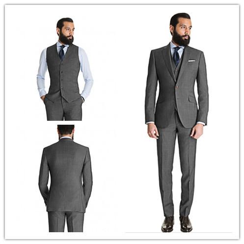 Nueva llegada del verano estilo 100% de lana clásico gris oscuro 3 unids dos botones con muesca solapa novia más tamaño trajes pant