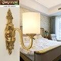 Qiseyuncai Американский минималистичный настенный светильник медная гостиная креативные проходные лампы с одной и двойной головкой прикроватн...
