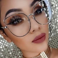 SARASHOP Cat Eye Sunglasses New Clear Lens Pink Yellow Women Men Sun Glasses Brand Designer Metal