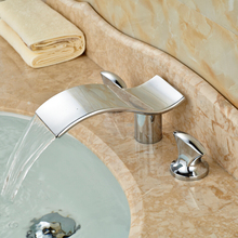 Polished Chrome Brass Widespread Waterfall Bathroom Basin Faucet Deck Mount Dual Handles