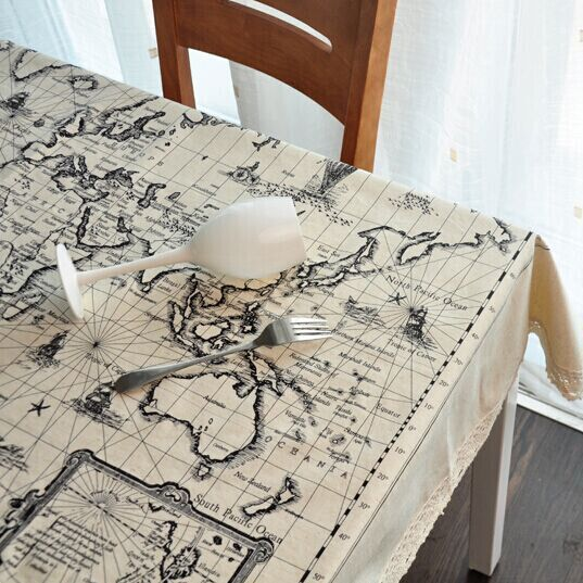 Printed tablecloths map design placemat household for Design of household linens