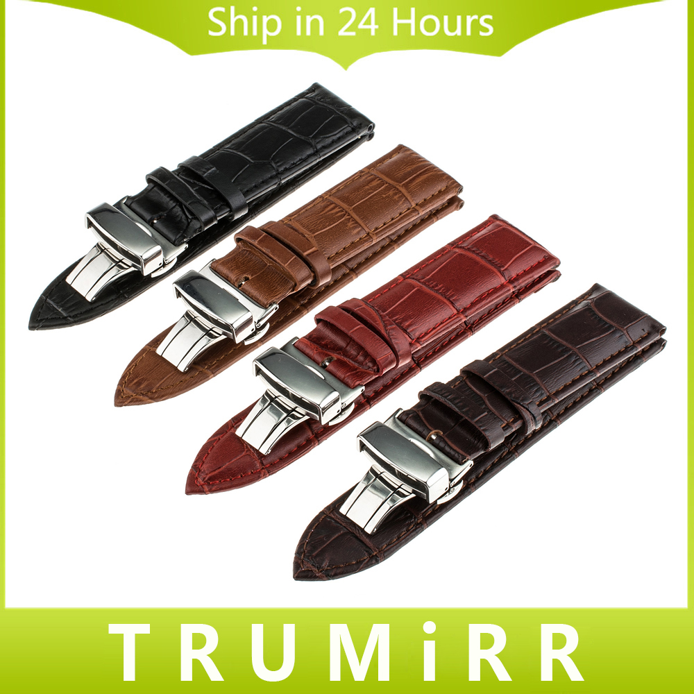 TRUMiRR Genuine Leather Watchband Butterfly Buckle Strap Croco Grain Bracelet for Watch Sized in 14 16 17 18 19 20 21 22 23 24mm стоимость