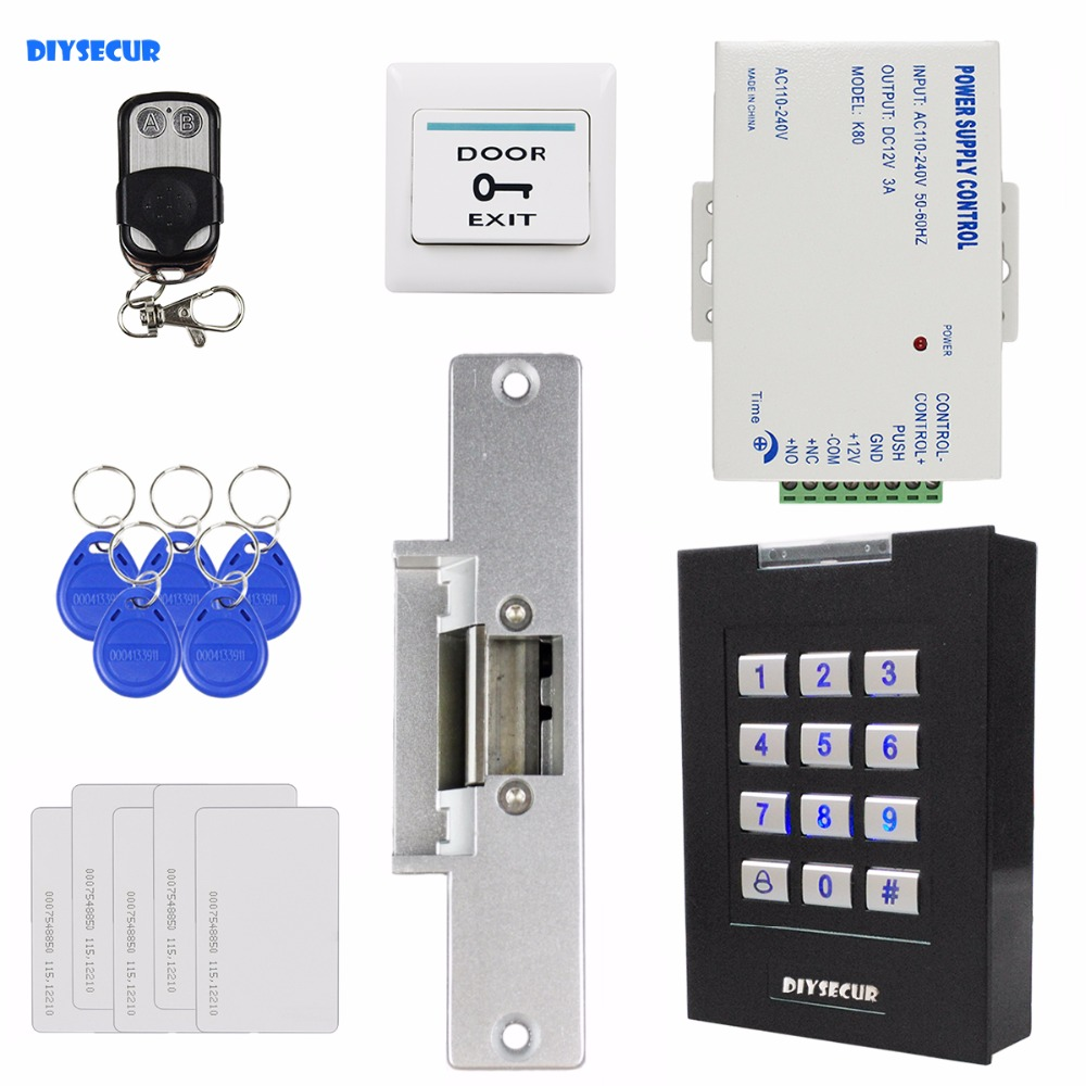 DIYSECUR 125KHz RFID Keypad Access Controller Door Lock Security System Kit + Remote Control + Electric Strike Lock diysecur 125khz rfid keypad door access control security system kit electric strike lock exit button for home office 7612