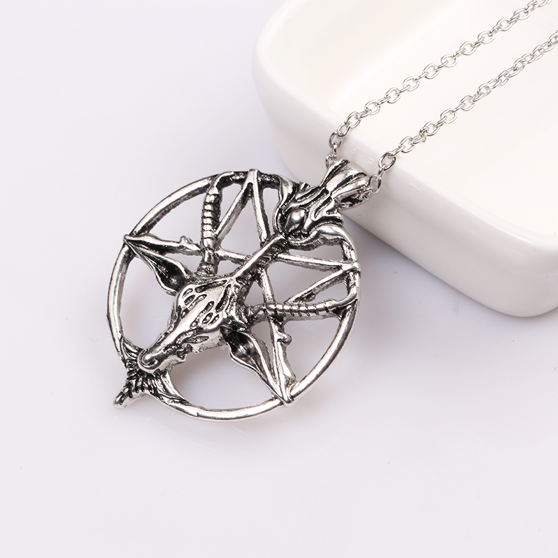 The vikings Pan God Goat Talismans Pendant Necklace Inverted Pentagram antique silver pendant for man and women delicate gifts
