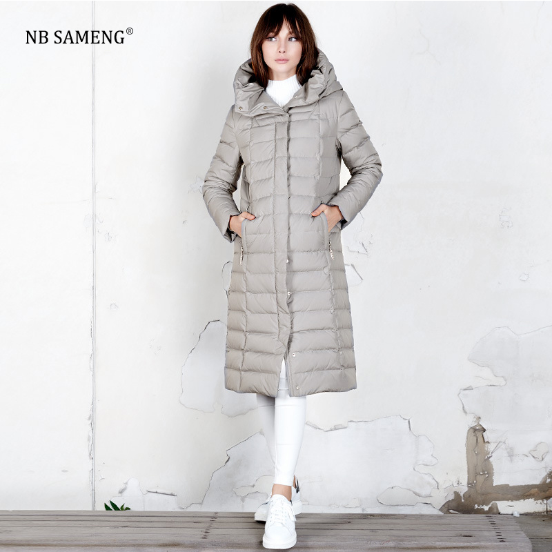 2017 New Long Paragraph Fashion Novel Version Of The Down Jacket For Women White Duck Down Thickening Coat цены онлайн