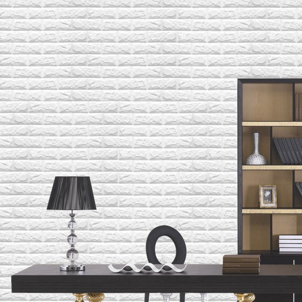 2018 NEW White 3D Modern Design Brick Wallpaper Roll Vinyl Wall ...