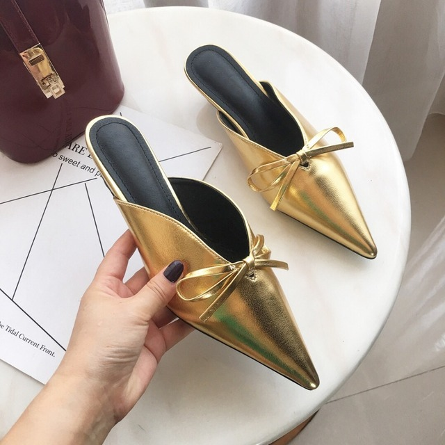 caa324b60d9 Boussac Sexy Pointed Toe Women Pumps Bowtie Kitten Heel Metal Gold Women  Mules V-neck