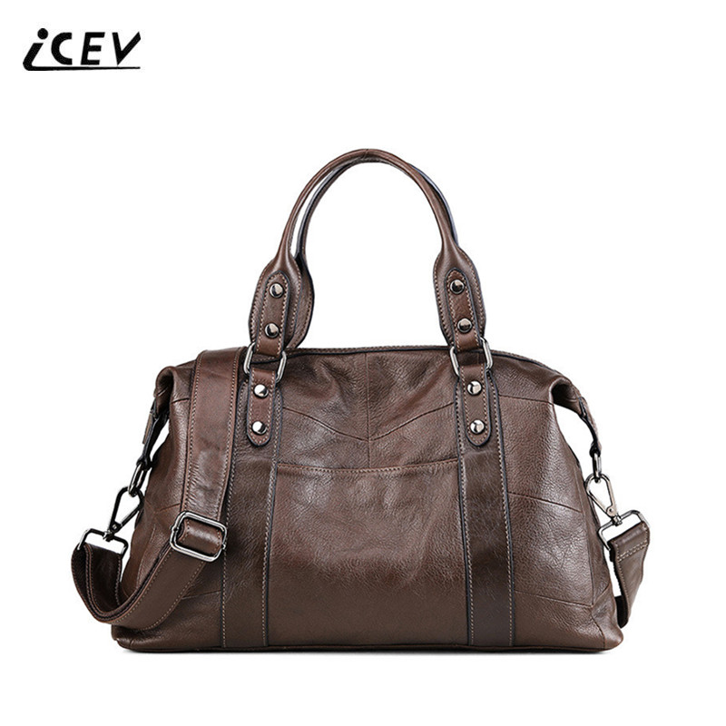 ICEV New Fashion 100% Genuine Leather Handbags Simple Ladies Cowhide Totes High Quality Women Leather Handbags Top Handle Bags icev 100
