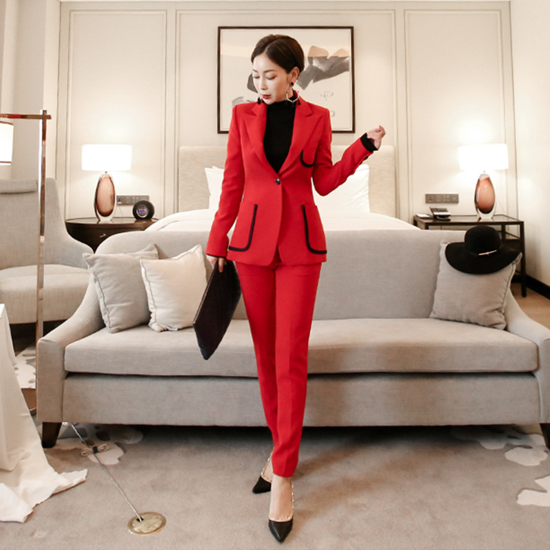Casual Lady Business Professional Suit Stylish High Quality Red Blazer Pants Suit Female 2019 Autumn And Winter Women's Clothing