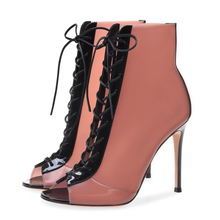 Women's Shoes Ankle Boots For Women Stilettos High Heels Peep Toe Red Wedding Shoes Ladies Boots New Lace-up Boots Rose TL-A0192 lace design spring winter wedding women peep toe zipper shoes solid white red thin high heels sweet fretwork ankle boots women