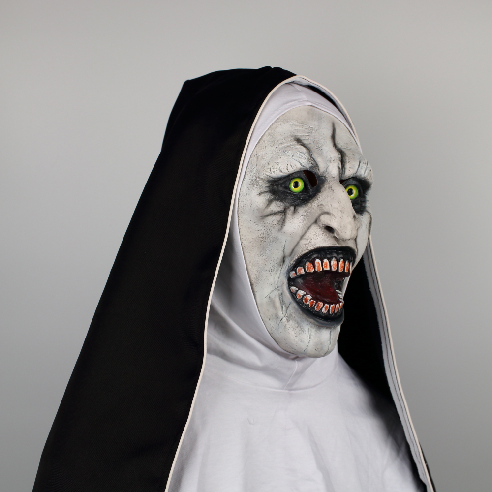 2018 The Nun Horror Mask The Conjuring Valak Cosplay Mask Full Head Horror Scary Halloween Party Props (6)