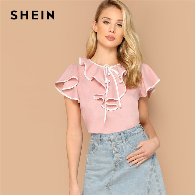 be66d4fc0ed6 SHEIN Sweet Pink Keyhole Back Ruffle Trim Flutter Sleeve Top Summer Blouse  Women Contrast Binding Cute Elegant Tops and Blouses