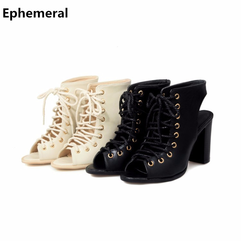 2017 Fashion Female Brand New Lace-up Thick Square Super High Heels Sandals Novelty Peep toe shoes Women Plus size Pumps 47 48