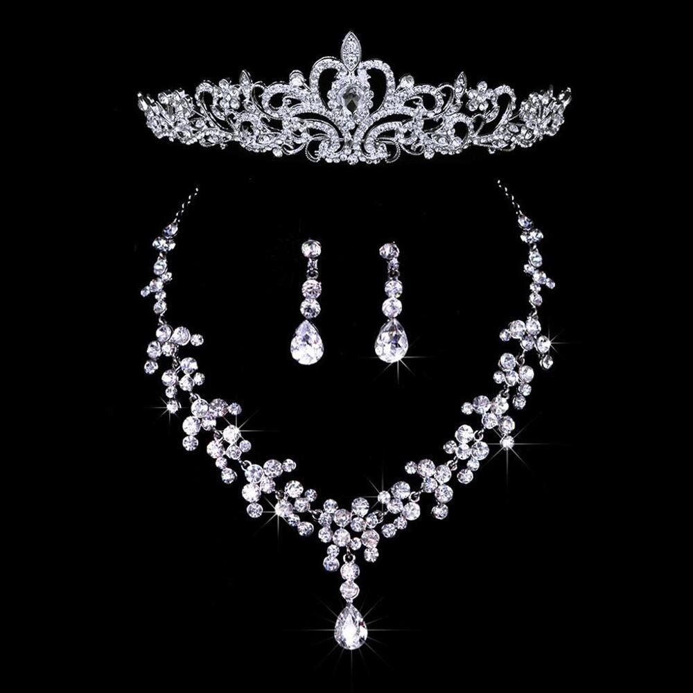 Bridal Wedding Jewelry Set Rhinestone Tiara Crown Necklace Earrings (4)
